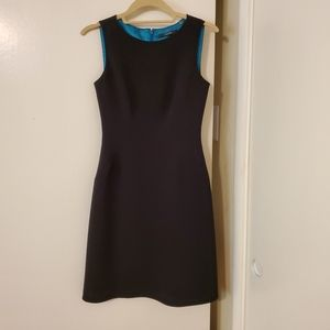 Tahari Black Suit Dress With Teal Lining, Size 0